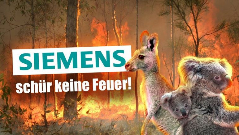 "Screenshot from Fridays for Future homepage - ""Siemens - don't stir up the fires"""