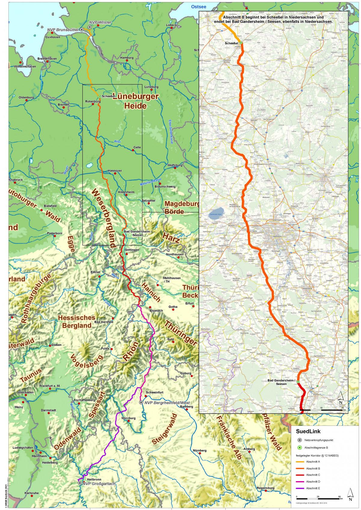 Map shows SuedLink power line route in Germany. Source: TenneT / TransnetBW.