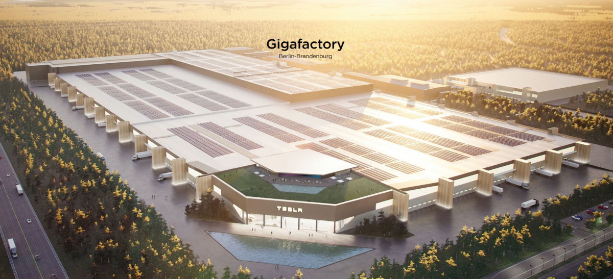 "The Tesla ""gigafactory""  currently under construction near Berlin. Image by Tesla"