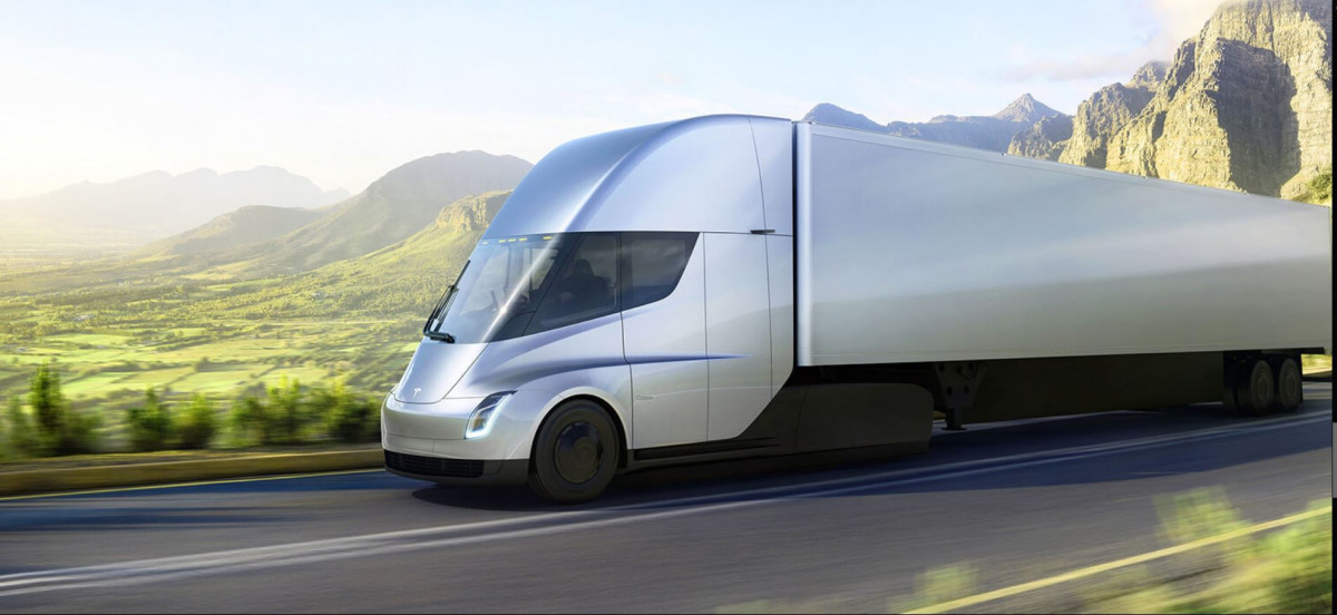The Tesla Semi, a battery-electric truck, will hit the market starting next year. Image by Tesla