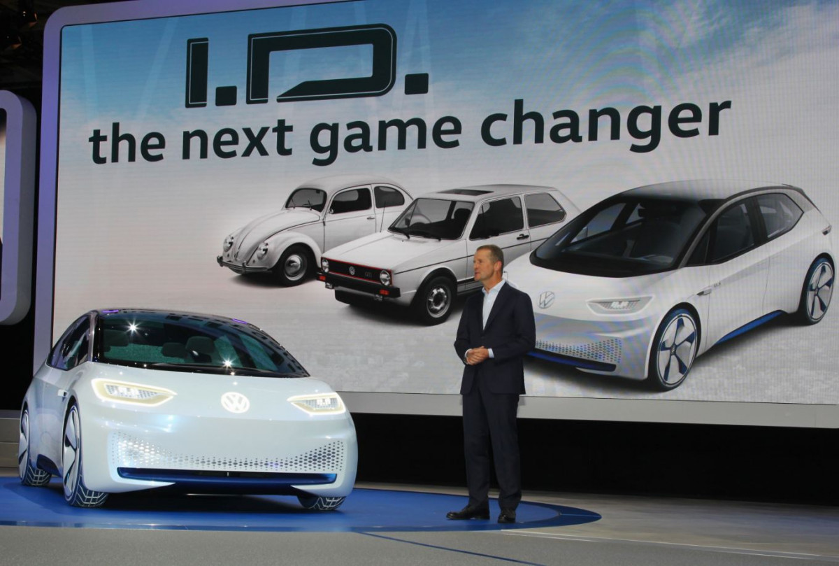 Diess presents the ID.3 concept at the Paris Motor Show in 2016. Photo: VW