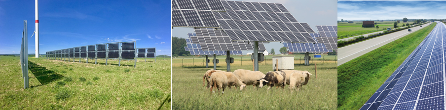 Bifacial solar modules, panels on grazing land and solar noise barriers: as land becomes more precious in the energy transition, solar panels need to become more flexible. Source: Next2Sun, Grüne Fraktion Bayern, Isofoton (l.t.r)