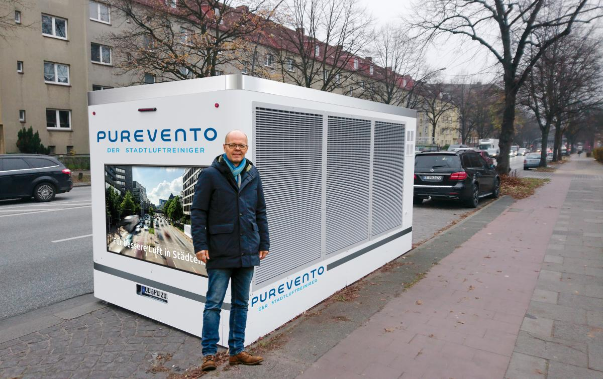 "Purevento says its Model E ""city air cleaner"" (seen in this photoshopped image) can purify about 15,000 cubic metres of air per hour. Photo: Purevento GmbH"