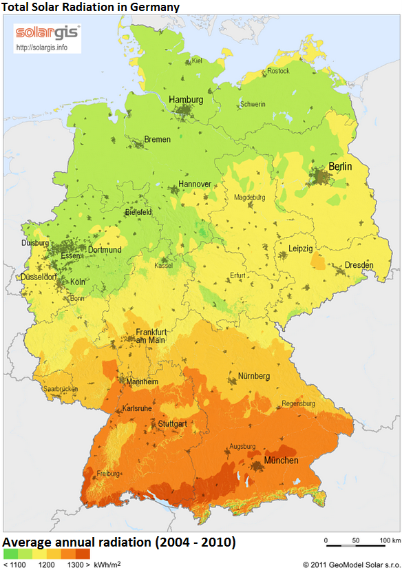 Solar intensity varies significantly across Germany - and so does the distribution of solar panels, which are mostly found in the country's south. Source: Solargis