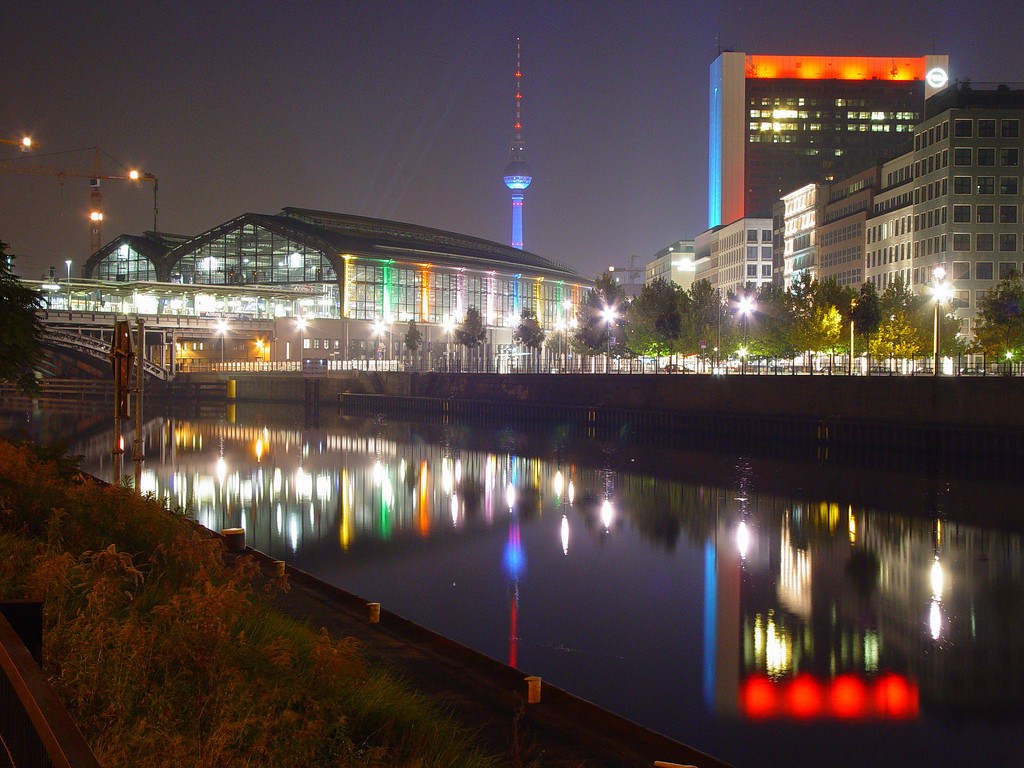 "The photo shows the Berlin train station ""Friedrichstraße"" and the TV tower at night. Photo: Holger Doelle."